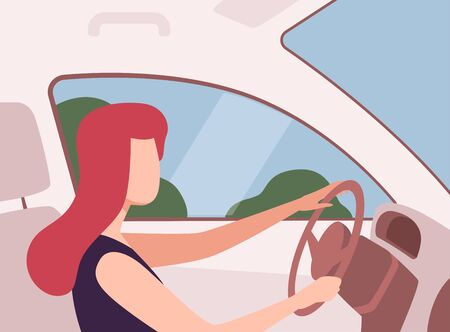 Young Woman Driving a Car, View from the Inside, Female Driver Character Holding Hands on a Steering Wheel Vector Illustration in Flat Style. 向量圖像