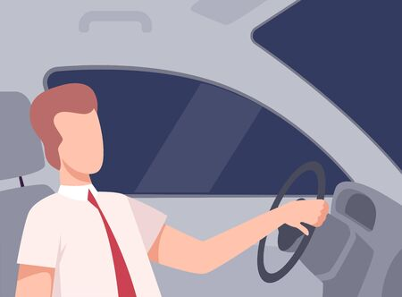 Businessman Driving a Car, Side View from the Inside, Male Driver Character Holding Hands on a Steering Wheel Vector Illustration in Flat Style.