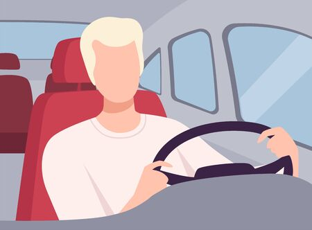 Young Man Driving a Car, View from the Inside, Male Driver Character Holding Hands on a Steering Wheel Vector Illustration in Flat Style.