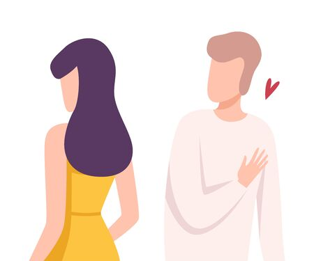 Young Woman Rejecting Loving Man, Male and Female Characters Experiencing Unrequited Feelings, One Sided or Rejected Love Flat Vector Illustration on White Background.