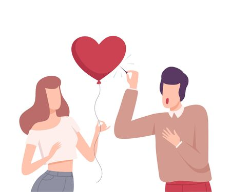 Young Woman Offering her Heart to Man Refusing to Take It, Male and Female Characters Experiencing Unrequited Feelings, One Sided or Rejected Love Flat Vector Illustration on White Background.