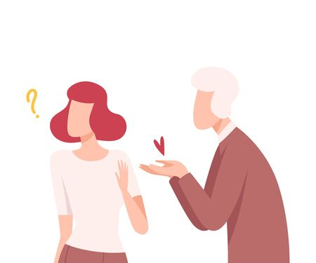 Man Offering his Heart to Woman Refusing to Take It, Male and Female Characters Experiencing Unrequited Feelings, One Sided or Rejected Love Flat Vector Illustration on White Background.