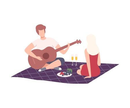 Couple Having Picnic in the Park, Man and Woman Characters Relaxing on Nature, Guy Playing Guitar Flat Vector Illustration on White Background. Ilustração