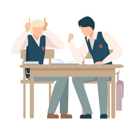 Two Boys Sitting At School Desk and Talking Vector Illustration. Children Demonstrating Bad Behavior At Class Concept Stock Vector - 134845357