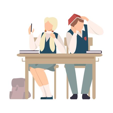 Girl Sitting At School Desk and Making Selfie During Lesson Vector Illustration. Children Not Listening to Their Teacher Concept Illustration