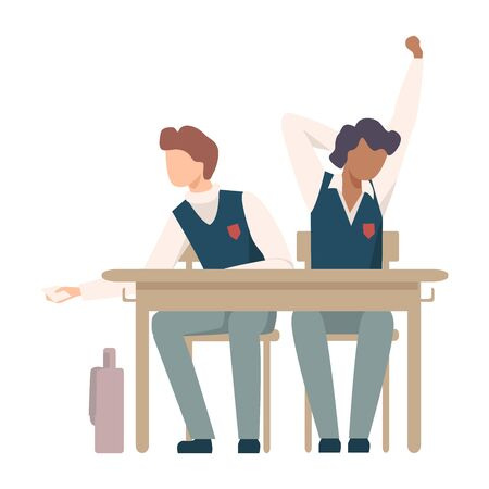 Boys Sitting At School Desk and Yawning During Lesson Vector Illustration. Children Not Listening to Their Teacher Concept Illustration