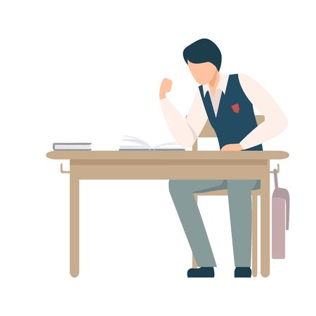 Boy Sitting At School Desk Ready to Fight with Someone During Lesson Vector Illustration. Children Not Listening to Their Teacher Concept Illustration