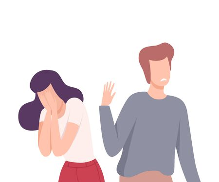 Young Man Rejects Feelings Of Loving Girl, Unrequited Feelings, One Sided or Rejected Love Flat Vector Illustration on White Background.
