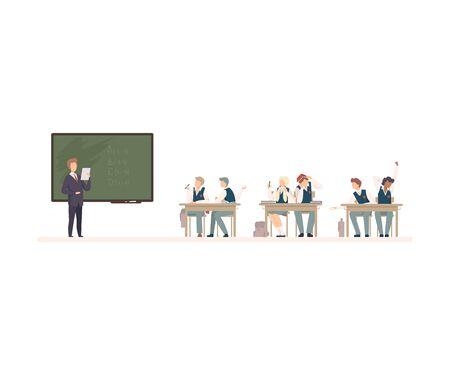 Naughty Pupils Sitting At School Desk Vector Illustration. Children Demonstrating Bad Behavior At Class Concept Illustration