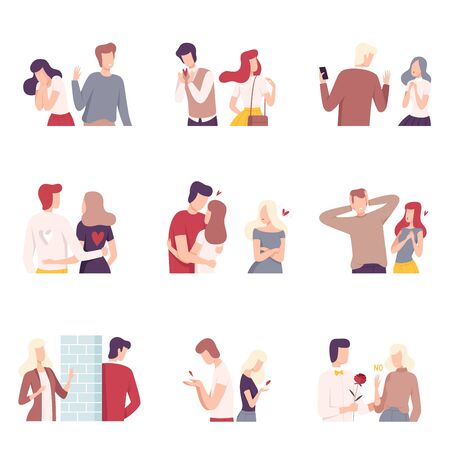 Man and Woman Experiencing Unrequited Feelings Set, Indifferent Partners and Fans in Love, One Sided or Rejected Love Flat Vector Illustration on White Background.