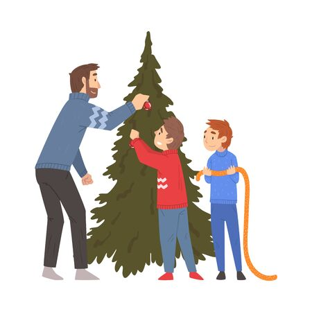 Father and His Two Sons Decorating Christmas Tree Together, Family Celebrating New Year, Christmas Eve Vector Illustration on a White Background.