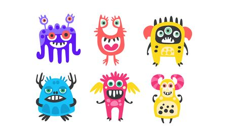 Cute Colorful Monsters with Open Mouth Vector Set. Cartoon Bizarre Characters Collection