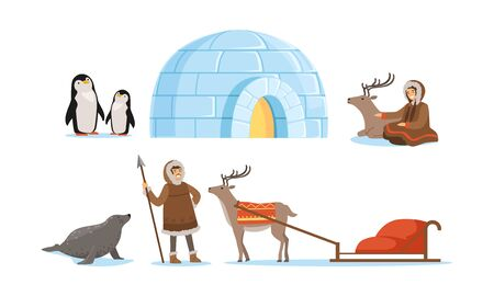 Wild North Arctic People and Animals Vector Illustrations Set. Eskimo Characters Sitting with Deer and Living in Igloo Illustration