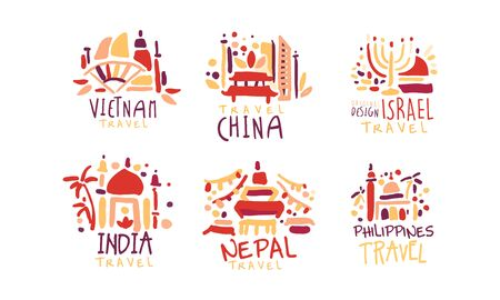Travel to Different Countries Vector Labels and icon Set Vector Illustration