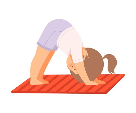 Cute Girl Standing Downward Facing Dog Pose, Adorable Kid Practicing Yoga, Active Healthy Lifestyle Vector Illustration on White Background. 일러스트