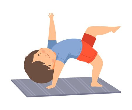Cute Boy Doing Sports, Adorable Kid Practicing Yoga, Active Healthy Lifestyle Vector Illustration 일러스트