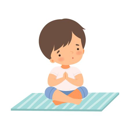 Cute Boy Sitting in Lotus Position, Adorable Kid Practicing Yoga, Active Healthy Lifestyle Vector Illustration on White Background.