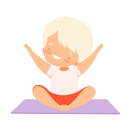 Cute Happy Boy Practicing Yoga, Active Healthy Lifestyle Vector Illustration on White Background. 일러스트