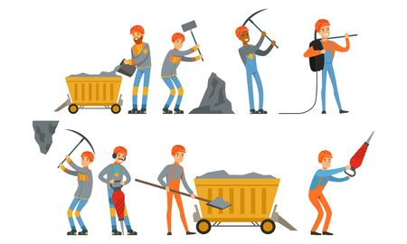 Miner Workers Standing in Different Poses Vector Set