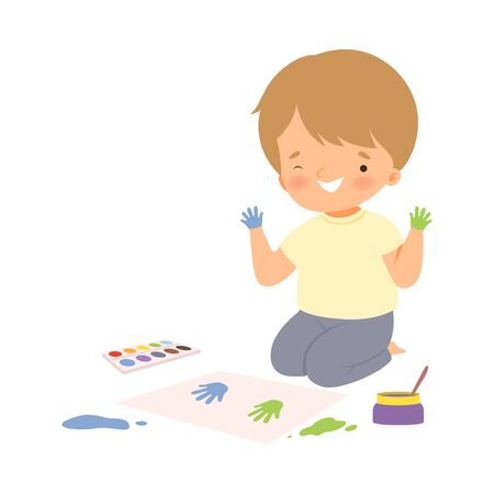 Cute Boy Sitting on the Floor Painting with Colorful Handprints, Adorable Young Artist Cartoon Character, Kids Creative Hobby Vector Illustration on White Background.