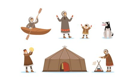 Wild North Arctic People and Animals Vector Illustrations Set. Eskimo Characters Building Up Fire, Fishing and Dancing Illustration