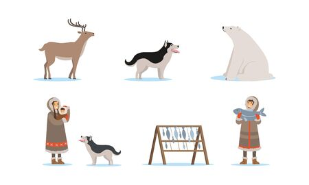 Wild North Arctic People and Animals Vector Illustrations Set. Eskimo Characters Fishing and Nursing Child