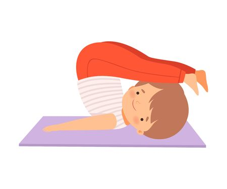 Cute Boy in a Plow Pose, Adorable Kid Practicing Yoga, Active Healthy Lifestyle Vector Illustration on White Background.