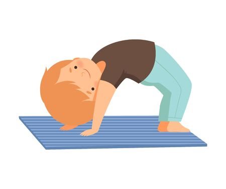 Cute Boy in a Bridge Pose, Adorable Kid Practicing Yoga, Active Healthy Lifestyle Vector Illustration