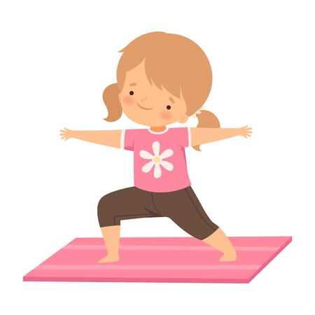 Cute Girl Standing in Hero Pose, Adorable Kid Practicing Yoga, Active Healthy Lifestyle Vector Illustration