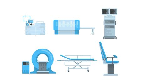 Medical Surgery and Examination Rooms Equipment with Scanner Monitor and Operating Table Vector Set. Modern Diagnostic Facilities Concept