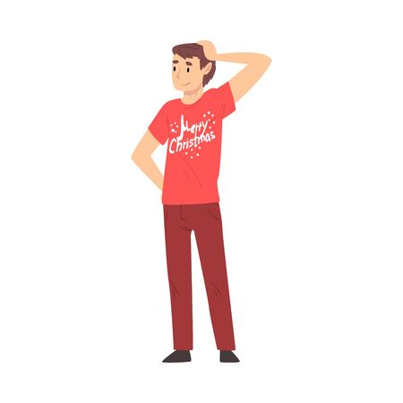 Young Man Character Wearing Red T-shirt Standing with One Hand on his Head Vector Illustration Vector Illustration on a White Background.