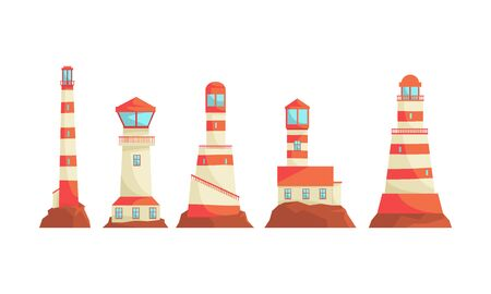 Lighthouse Structures Vector Set. Nautical Navigation System Concept
