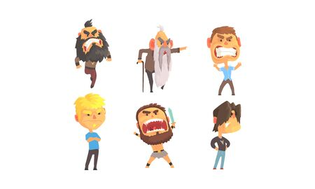 Angry and Exasperated Men Shouting Vector Set. Feeling of Furiousness Concept