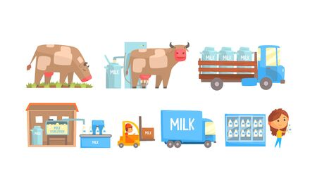 Stages of Milk Production Vector Illustrated Set. Dairy Industry Concept