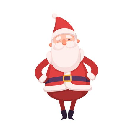 Funny Santa Claus, Cute Christmas and New Year Character, Winter Holidays Design Element Vector Illustration on White Background.