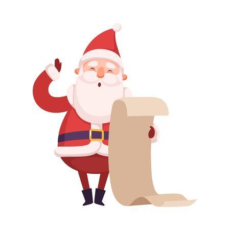 Funny Santa Claus, personnage mignon de Noël et du nouvel an, vacances d'hiver Design Element Vector Illustration sur fond blanc.