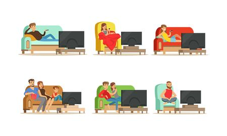 People Characters Sitting on Cozy Couch and Armchair and Watching TV Vector Illustrations Set. Evening Entertainment Concept
