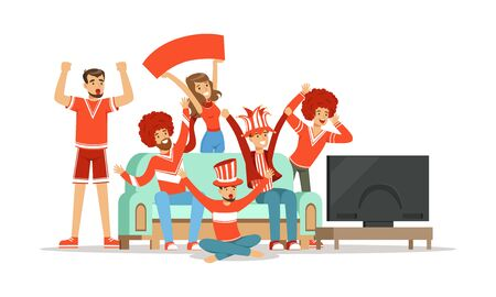 People Supporting Favorite Team Sitting and Standing in Front of TV Vector Illustration Illusztráció