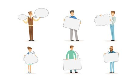 People Characters Standing and Holding Speech Bubbles Vector Set. Social Network Conversation Concept Illustration