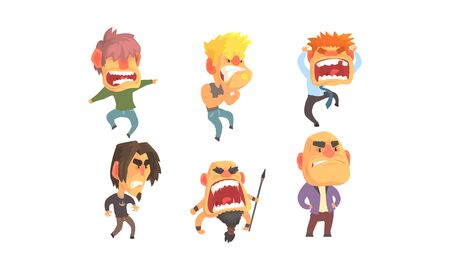 Angry and Exasperated Men Shouting Vector Set. Feeling of Furiousness Concept  イラスト・ベクター素材