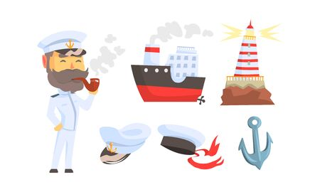 Mariner Attributes with Seaman Character Standing and Smoking Pipe Vector Set. Sailor Occupation Concept Stock Illustratie