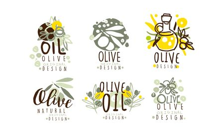 Olive Oil Labels Design Vector Set. Organic Natural Badge Collection