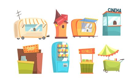 Street Kiosk and Stalls Vector Set. Urban Service Concept. Local Interactive Booth