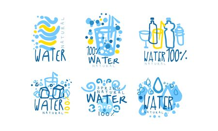 Natural Water Label or Badge Design Vector Set