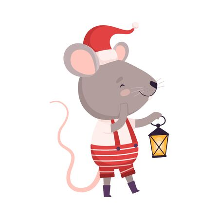 Cute Mouse in Santa Hat Standing with Lantern, Cute Small Rodent Animal Character, Symbol of 2020 Year Vector Illustration 向量圖像