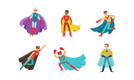 Superheroes Characters in Different Poses Vector Set