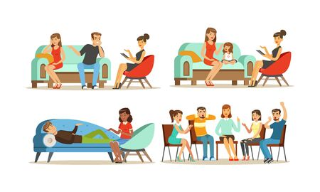 People Visiting Female Psychologist Vector Illustrations Set. Young Couple Scolding During Appointment. Group Therapy Concept