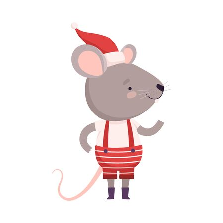 Cute Mouse Dressed Up in Christmas Santa Claus Costume, Cute Small Rodent Animal Character, Symbol of 2020 Year Vector Illustration Stock Illustratie