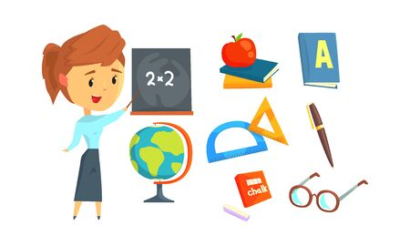 School Supplies Vector Set and Math Teacher Standing in Front of Blackboard. Teacher Occupation and Attributes Concept