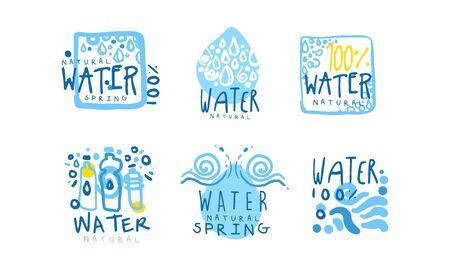 Natural Water Label or Badge Design Vector Set